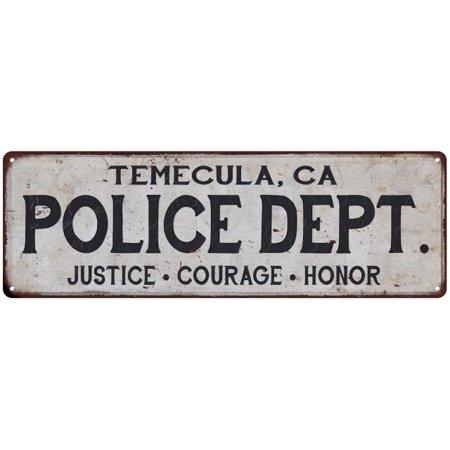 TEMECULA, CA POLICE DEPT. Vintage Look Metal Sign Chic Decor Retro 6182977