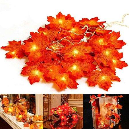 20/40/80 LED USB Maple Leaf String Lights Decor, Fall Garlands String Light for Halloween Christmas Decor ()