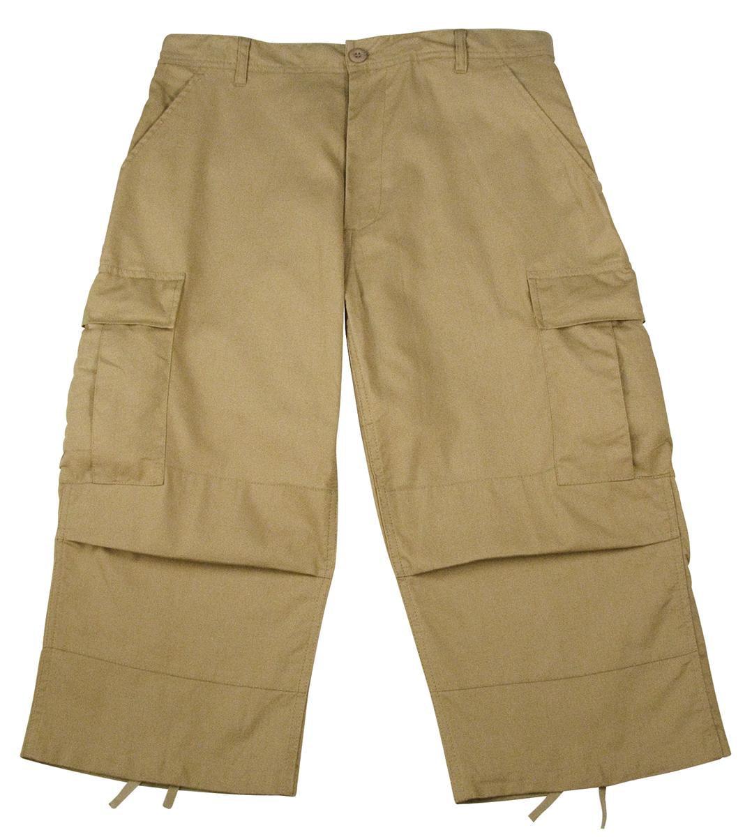 Mens Khaki Cropped Capri Pants w/Cargo Pockets - Walmart.com