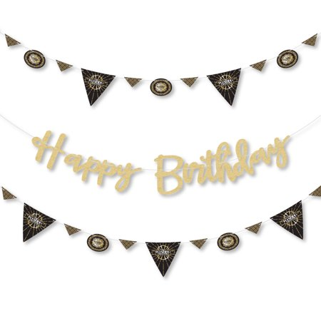Roaring 20's - 1920s Art Deco Jazz Birthday Party Letter Banner Decoration - 36 Banner Cutouts and No-Mess Real Gold Gli](1920's Decoration)