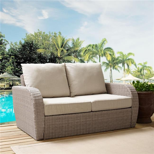 St. Augustine Outdoor Wicker Loveseat, Weathered White with Universal Oatmeal Cushion