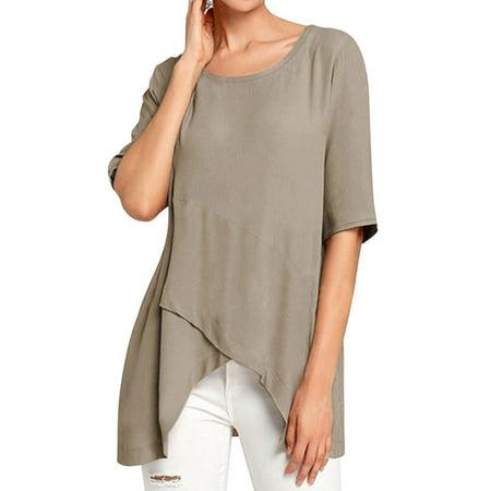 Nlife Women's Round Neck Linen Blend Half Sleeve Asymmetric Hem T-shirt