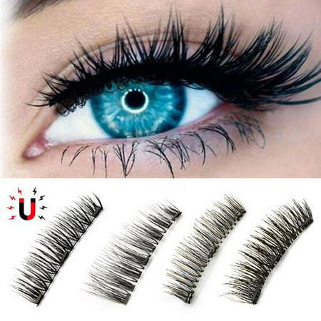 4 Pcs 3D Magnetic False Eyelashes No Glue Handmade Natural Extension Eye (Best Eyelash Extension Glue On The Market)