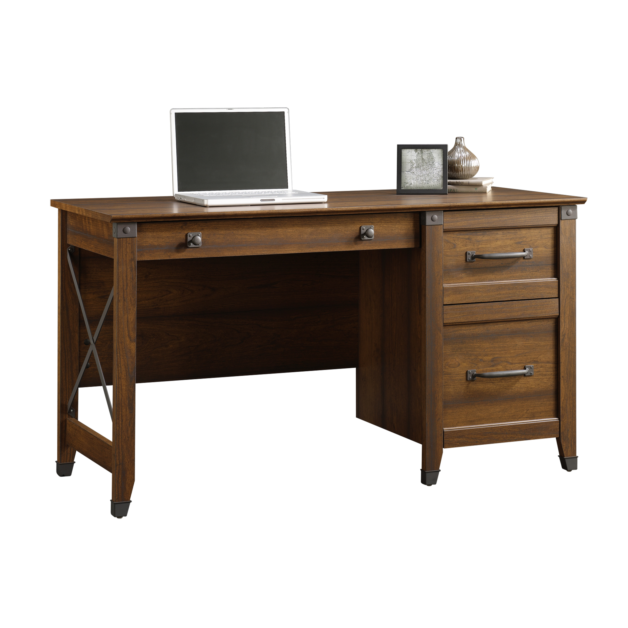 Sauder Carson Forge Desk With 3 Drawers Washington Cherry
