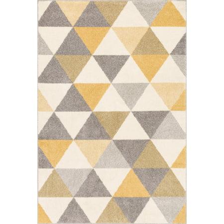 Well Woven Mystic Alvin Modern Geometric Triangles Gold 3'3