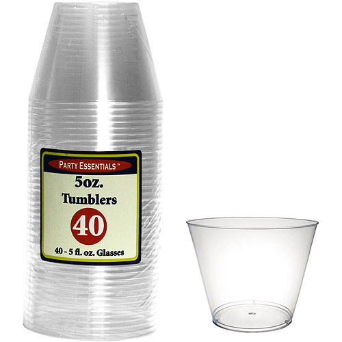 Clear 5-Ounce Plastic Tumblers, 40-Pack