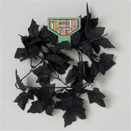 RGP G89927 Garland Black Leaf Polyester 4Ft. Gov Hal Tie On Card Pack Of 36 - Halloween Garland Black
