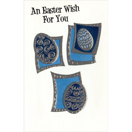 Freedom Greetings 3 Embossed Silver Foil Eggs Easter
