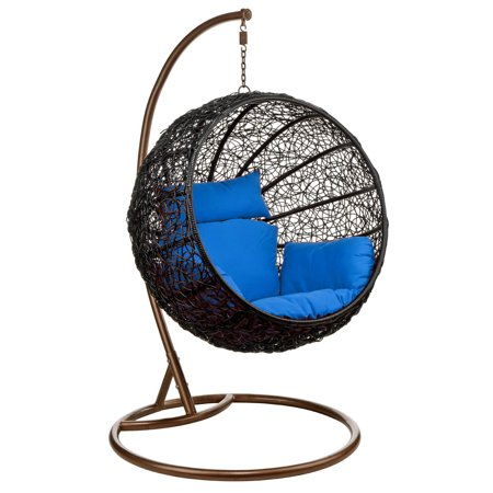 Wicker Rattan Hanging Egg Chair Swing For Indoor Outdoor Patio Backyard Stylish Comfortable Relaxing With Cushion And Stand Blue