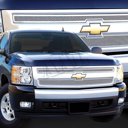 - AAL Polished Mesh Grille / Grill Insert For 2007 2008 2009 2010 2011 2012 2013 CHEVY Chevrolet SILVERADO 1500 2PC UPPER BOLTON