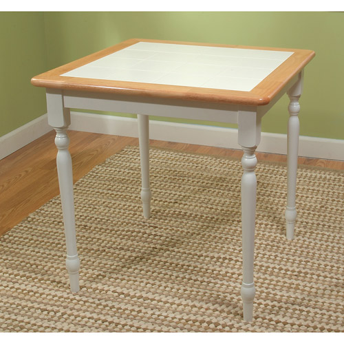 Tile-Top Dining Table, White/Natural