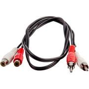 Seismic Audio 3 Foot Dual RCA Male to Dual RCA Female Audio Extension Cable - 2-RCA AV Cord - SA-SRCA3