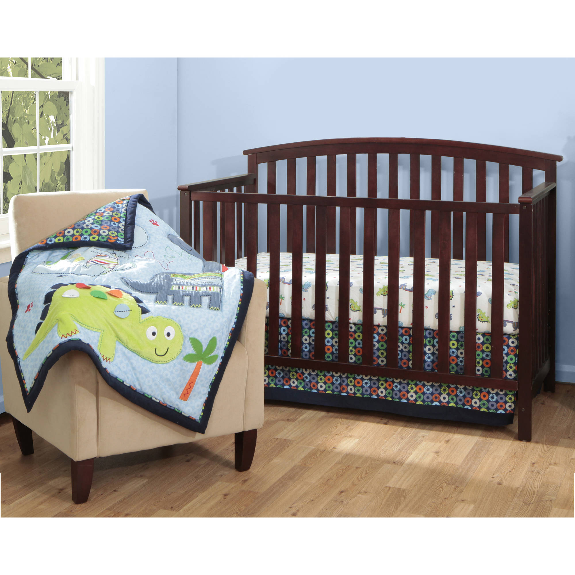 Bananafish Little Dino 3 Piece Crib Bedding Set With BONUS Diaper Stacker