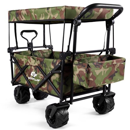 Goplus Collapsible Folding Wagon Cart W/ Canopy Outdoor Utility Garden Trolley Buggy camouflage color