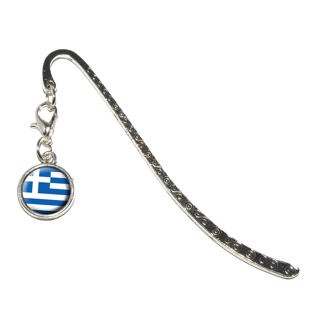Greece Greek Flag Metal Bookmark with Charm by Graphics and More