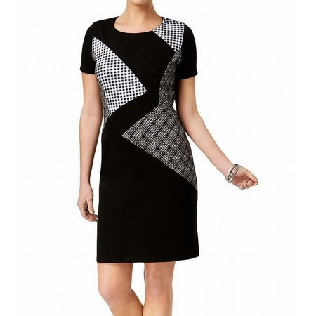 NY Collection Womens Mixed Print Sheath Party Dress B/W M (20s Themed Dresses)