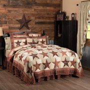 Burgundy Red Country Independence Day Bedding Country Star Cotton Pre-Washed Patchwork Star Rectangle Luxury King Quilt
