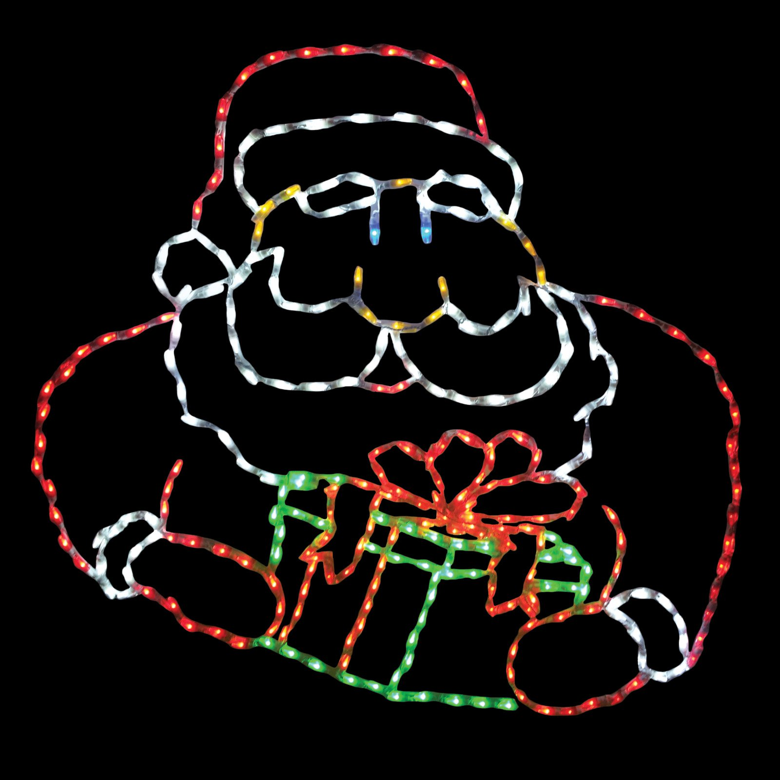 48 in. LED Santa with Gift Box Lighted Display - 286 Bulbs