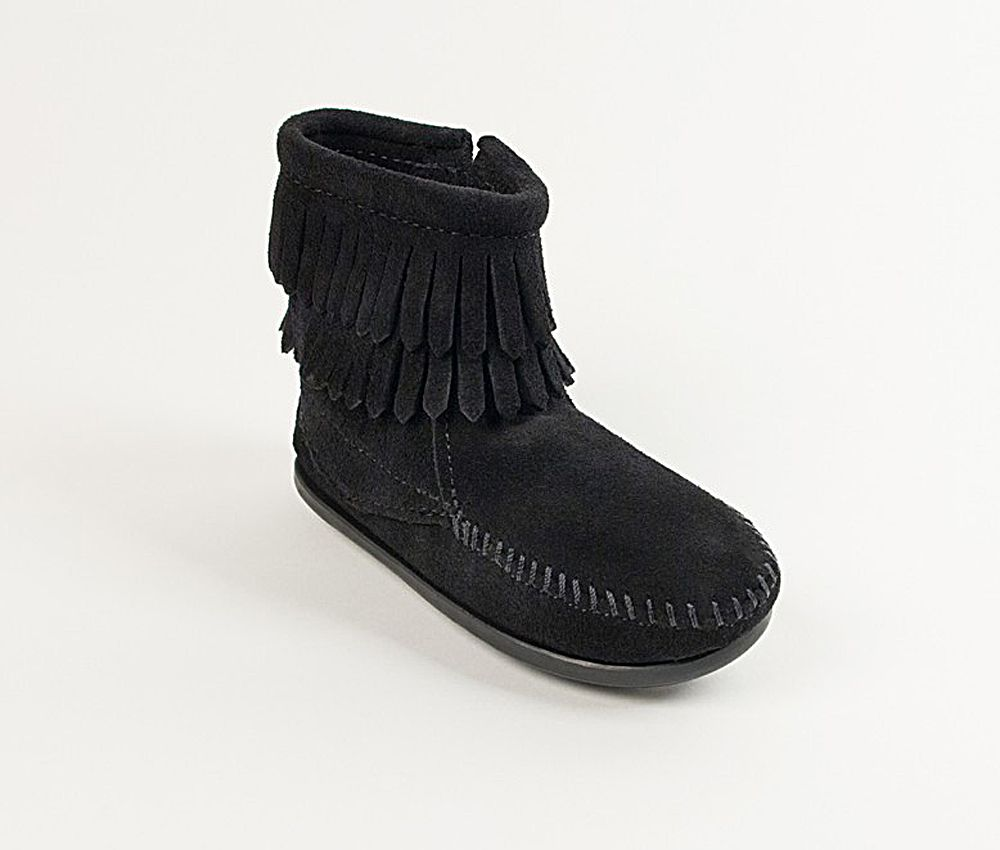 Click here to buy Minnetonka Boys Double Fringe Black Zip Boot by MINNETONKA.