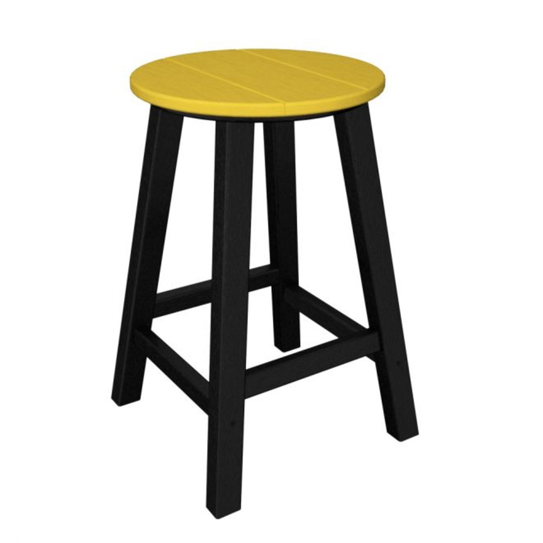 "24.25"" Recycled Earth-Friendly Patio Bar Stool - Lemon Yellow w/ Black Frame"