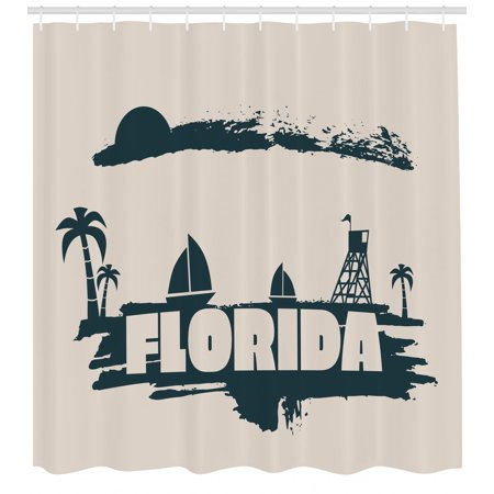 Florida Shower Curtain Palms Safeguard Tower On Beach Yachts And Paintbrush Cloudscape Fabric Bathroom