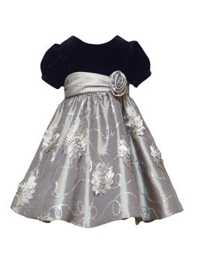 cdd9ecd526f Product Image Little Girls 2T-6X Silver Black Stretch Velvet to Sequin  Bonaz Taffeta Social Dress. Rare Editions