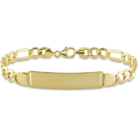 10kt Yellow Gold Men's ID Figaro Chain Bracelet, (Mans 10kt Yellow Gold Bracelet)