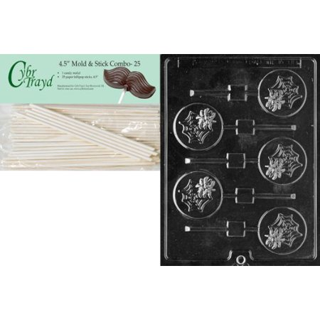 Cybrtrayd 45St25-H082 Spider in Web Lolly Halloween Chocolate Candy Mold with 25 4.5-Inch Lollipop Sticks