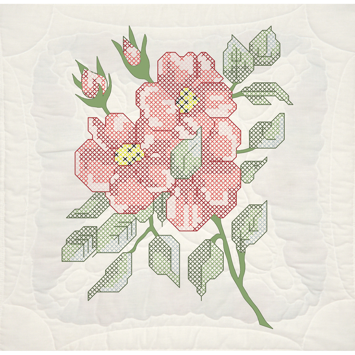 "Fairway Needlecraft Red Roses Stamped Quilt Blocks, 18"" x 18"""