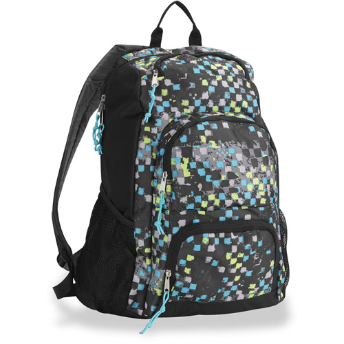 "Triple Pocket Blue Graphic Check 18"" Backpack"