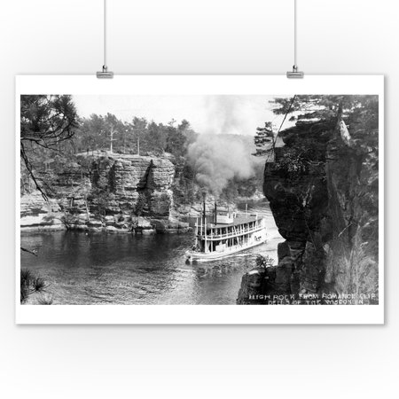 Wisconsin Dells, Wisconsin - High Rock from Romance Cliff, Steamer Photo (9x12 Art Print, Wall Decor Travel (Wisconsin Dells Photos)