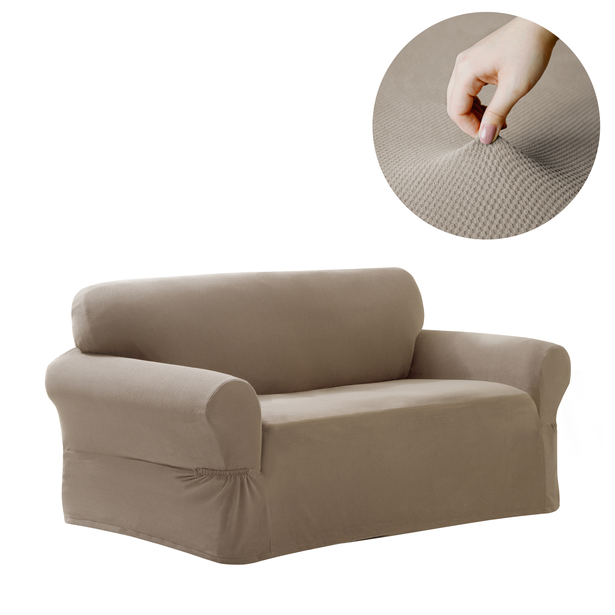 Maytex Stretch Pixel 1 Piece Loveseat Furniture Cover Slipcover, Sand
