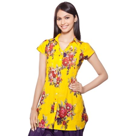 In-Sattva Women's Short Kurta Tunic - Ethnic Floral Front Pleats and Collar