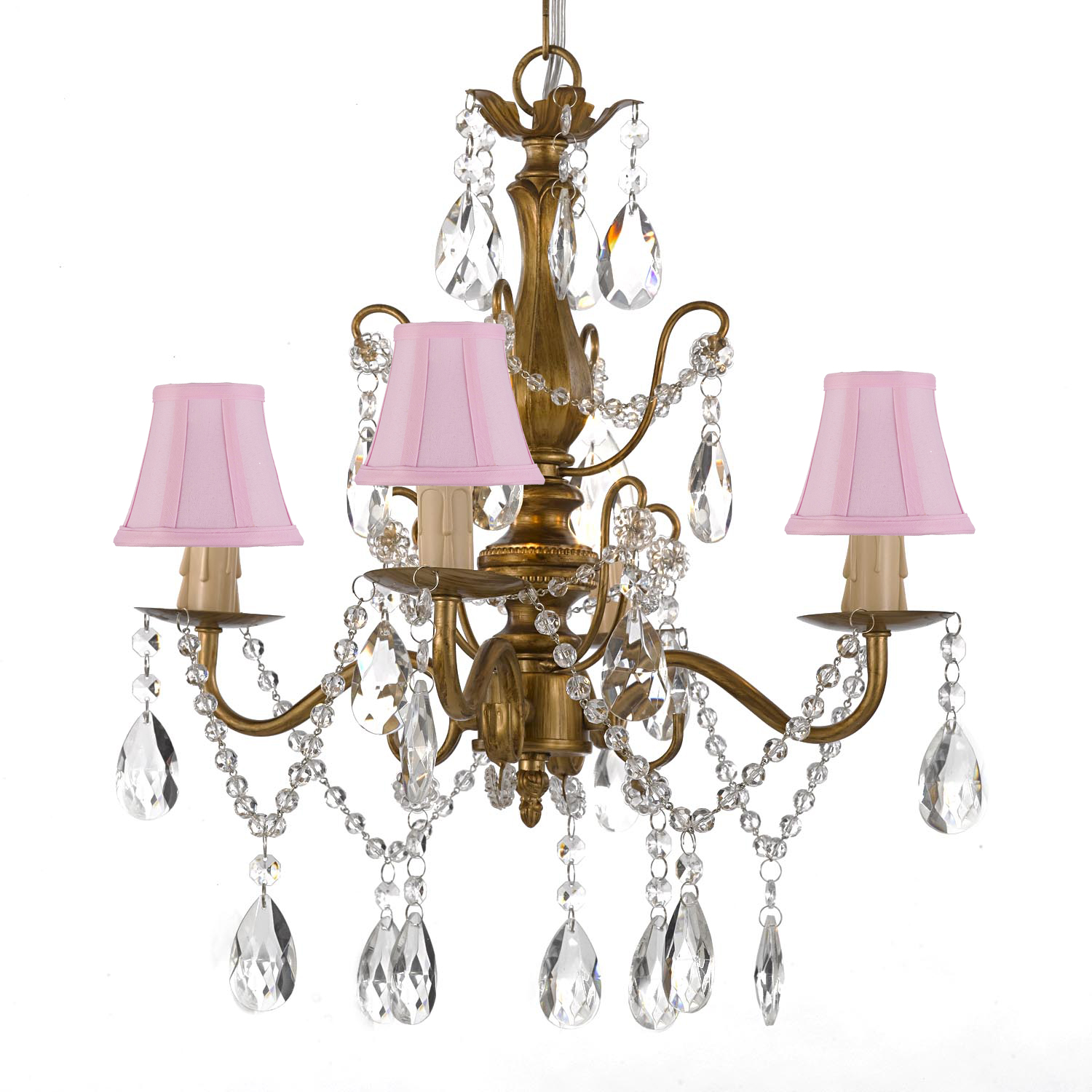 "Wrought Iron and Crystal 4 Light Gold Chandelier H 14"" X W 15"" Pendant Lighting Hardwire and Plug In with Shades"