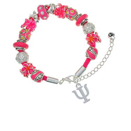 Silvertone Large Greek Letter - Psi - Hot Pink Flowers Bead Bracelet