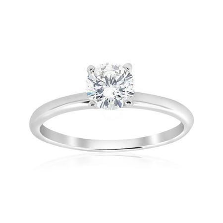 5/8ct Solitaire Round Diamond Engagement Ring 14K White Gold Brilliant Jewelry ()