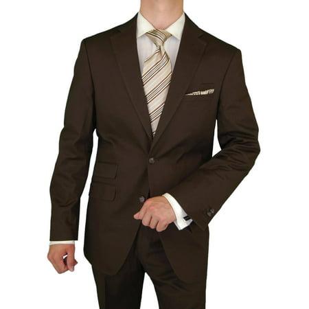 DTI BB Signature Italian Men's Suit Stretch Modern Fit Ticket Pocket Jacket Pant Brown