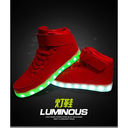 Kids High Top Boys Girls USB Charge LED Light Up Casual Luminous Sneakers Shoes Boys Urban High Top