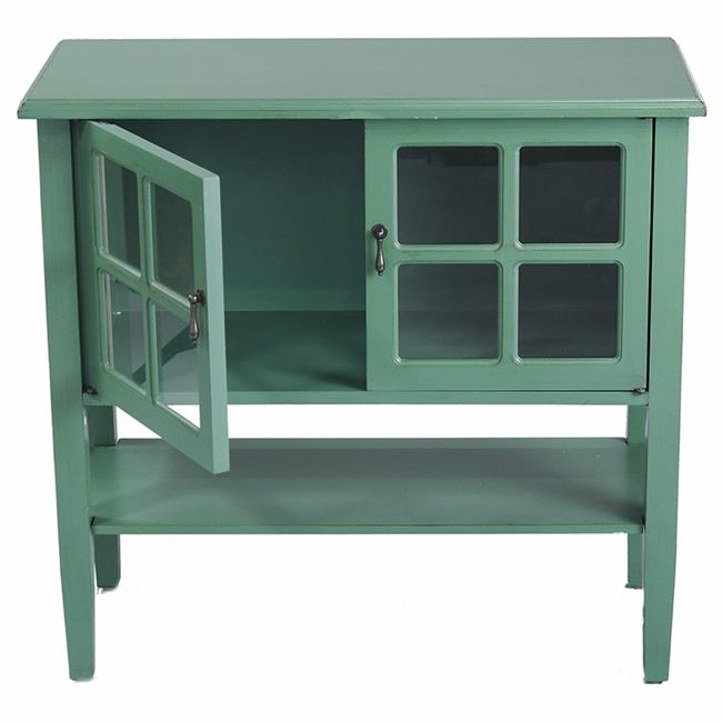 Vivian 2-Door Console Cabinet with Paned Glass Inserts & Shelf - Dark Celadon