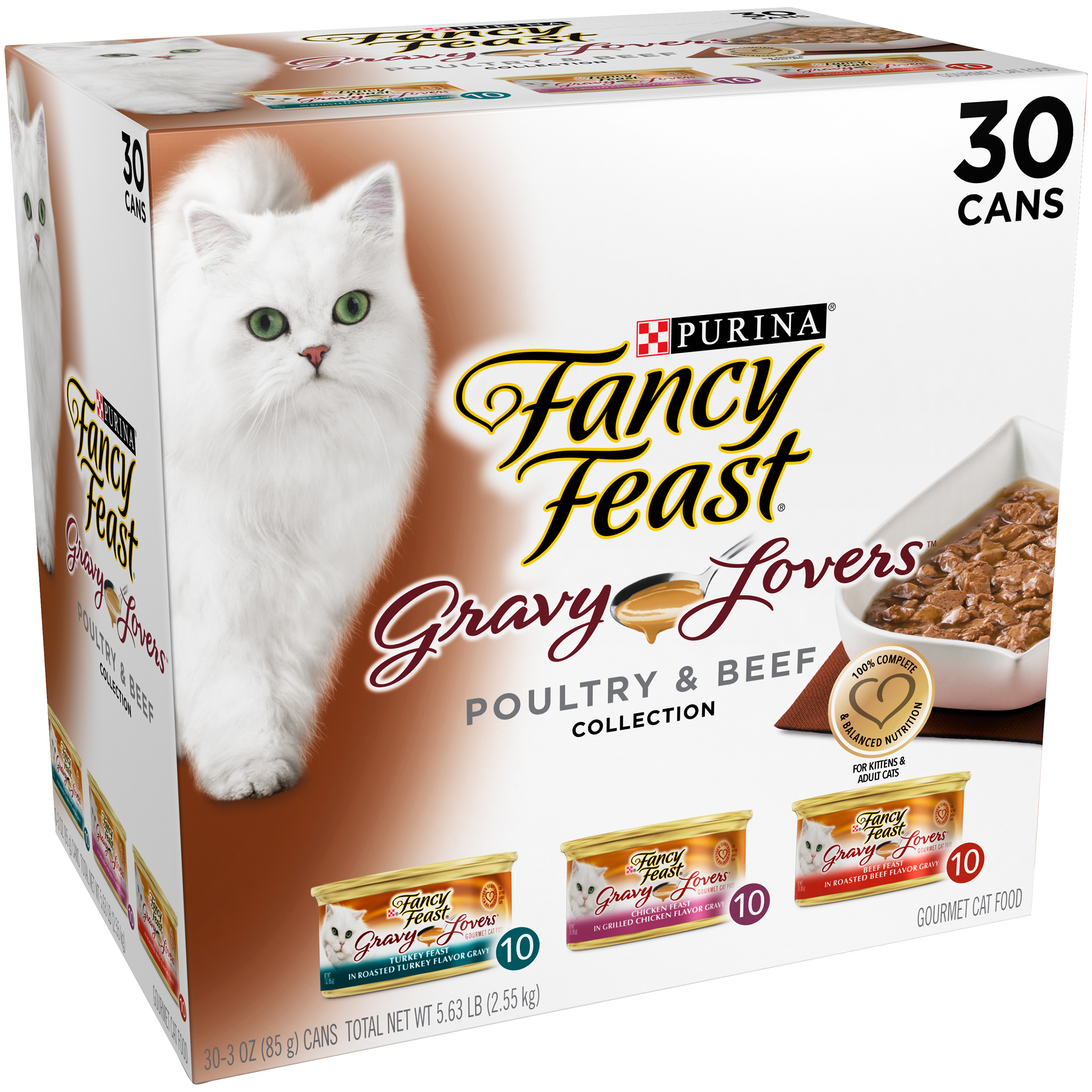 Purina Fancy Feast Gravy Lovers Poultry & Beef Feast Collection Cat Food 30-3 oz. Cans