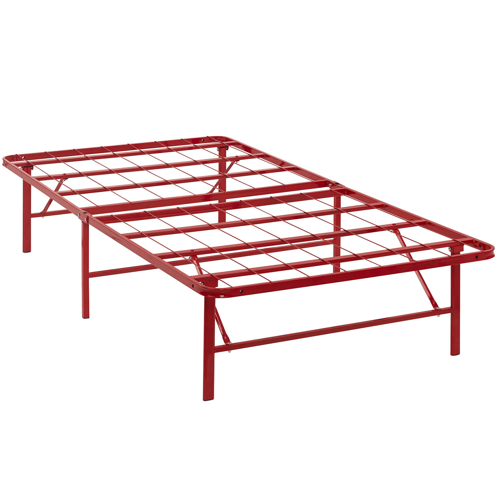 Modern Contemporary Urban Design Bedroom Twin Size Platform Bed Frame, Red, Metal Steel