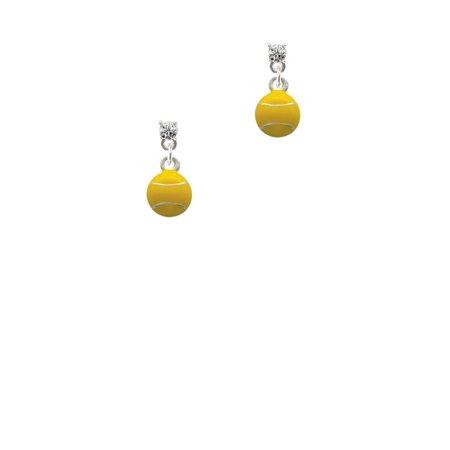 Silvertone Mini Enamel Tennis Ball Clear Crystal Post (Mini Tennis Posts)