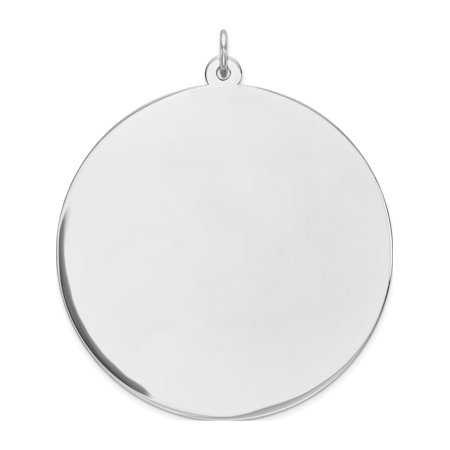 925 Sterling Silver Engraveable Round Polished Front/Satin Back Disc (38x42mm) Pendant / Charm - image 2 de 2