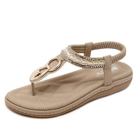 Elastic Thong Flip Flops (Meigar Women Elastic Strappy Thong Ankle Strap Sandals Bohemian Slip on Flip Flops Shoes )