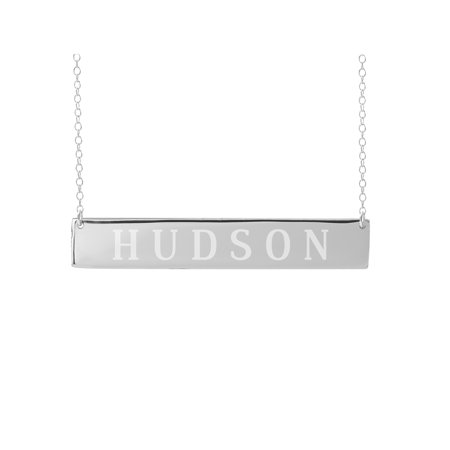 Personalized Sterling Silver, Gold Plated, 10k or 14k Horizontal Bar Name Necklace With 18 inch Link Chain