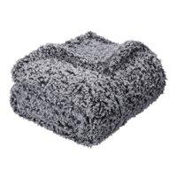 "Mainstays Extra Plush Lightweight Sherpa Throw Blanket, 50"" x 60"", Gray"