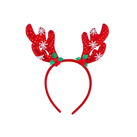 Lux Accessories Red Reindeer Antlers Puff Balls Green Leaves Snowflakes Headband](Reindeer Antler Headband Craft)