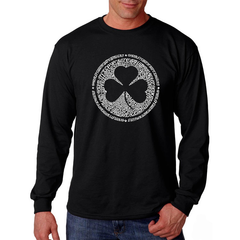 Los Angeles Pop Art Big Men's Long Sleeve T-shirt - Lyrics to When Irish Eyes are Smiling