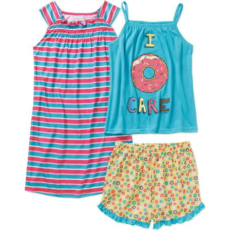 Komar Kids Girls' 3 Piece Sleepwear Set Donut Short Set with Stripe Gown, Pink Print, Size: 7/8 (Girls Sleepwear)