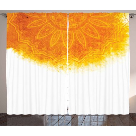 Boho Curtains 2 Panels Set, Bohemian Style Round Tribal Motif with Watercolor Brush Effect, Window Drapes for Living Room Bedroom, 108W X 63L Inches, Orange Burnt Orange and White, by Ambesonne ()